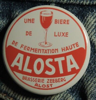 Pin Button Badge Ø38mm (bière) Brasserie ZEEBERG ALOSTA  ( ALOST ) #1