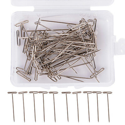 "50X Metal 38mm/1.50"" T Pins For Modelling Macrame Wigs Sewing Craft DIY Tool,"