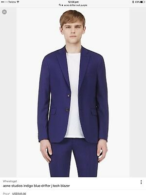 Stunning ACNE mens blue suit - DRIFTER jacket 48 pants 50 RRP $1000