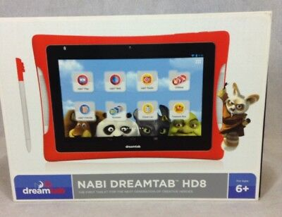 Nabi Dreamtab HD8 16GB 8in Wi-Fi Android Kids Tablet Red Bumper Case (SEALED)
