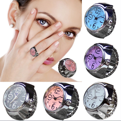 Women Dial Quartz Analog Finger Watch Creative Steel Ring Crystal Elastic Watch