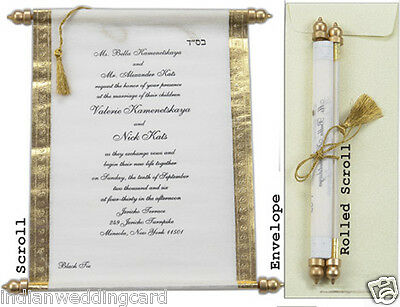 75pcs Bulk Scroll Wedding Invitation Kit With Box Scrolls