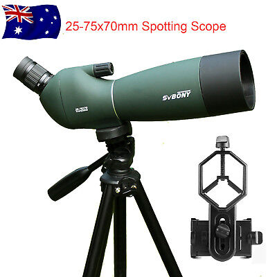 SVBONY 25-75x70mm Angled Zoom Spotting Scope With Telescope Tripod&Phone Adapter
