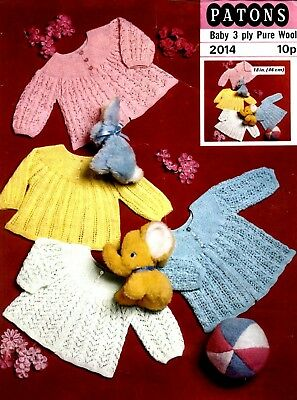"Patons-2014  ""COPY""  Baby Jackets Knitting Pattern  Chest 46 cm / 18"" 3 Ply yarn"