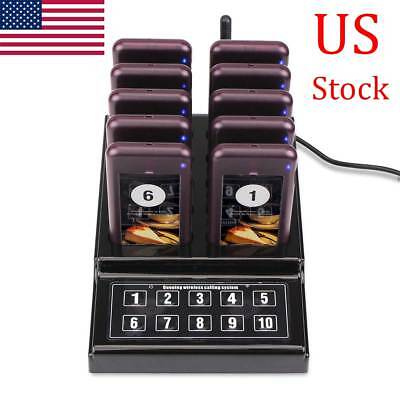 Restaurant Equiment Wireless Guest Paging Queuing System Transmitter+10*Pager US