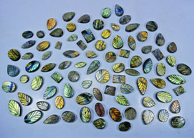 250Cts/ 25Pcs Natural Labradorite Leaf Carving Mix Cabochon Gemstone Lot