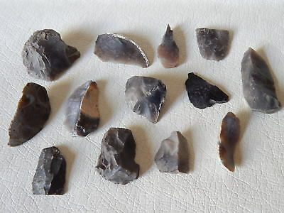 Paleolithic and Neolithic microliths. Ukrainian flint stone Artifact.