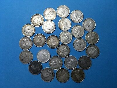 Australia Job Lot X25 Silver Threepence Mixed Dates And Grades Coin