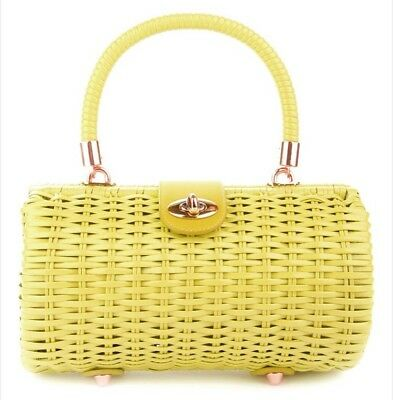 BRAND NEW Wicker Baguette Purse in Pastel Yellow by Pinup Couture