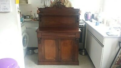 Vintage antique cabinet / cupboard carved with shelf and draw.