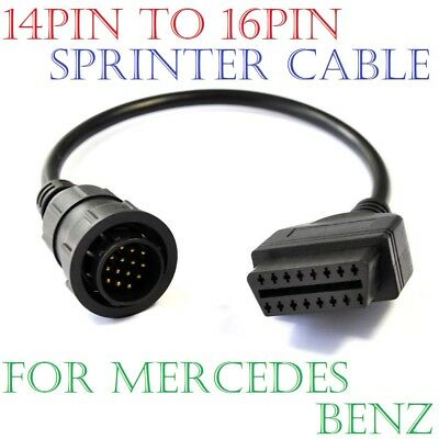 14Pin to 16Pin OBD2 Adaptor Cable Sprinter For Mercedes Benz Volkswagen VW LT