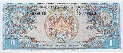Bhutan 1 Ngultrum  ND. 1981  P 5a  Uncirculated  Banknote