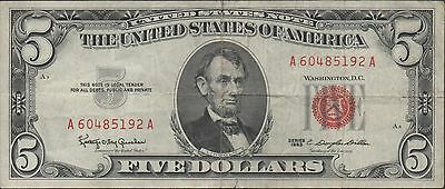 US Note $5  Series of 1963  Red Seal Circulated Banknote