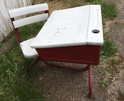 vintage 1930s child s school desk chair wood and metal american