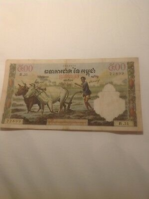 Cambodia 500 Riels 1962 Great condition Free shipping