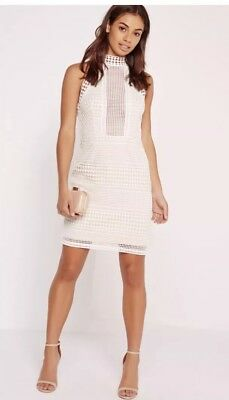 610ab7f4850f Missguided premium structured lace high neck bodycon dress white Size 8