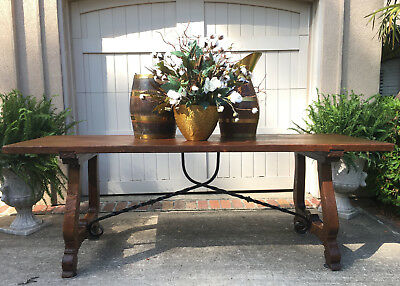 7 ft. Antique French Carved Oak DINING TABLE Farm Country Catalan Spanish Iron