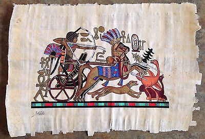 "Egyptian Painting on Papyrus Paper ""King Tut Hunting on a Chariot"""""