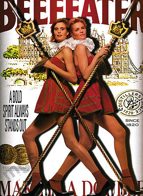 Beefeaters vintage print ad 2000 Make It a Double - Women Guards