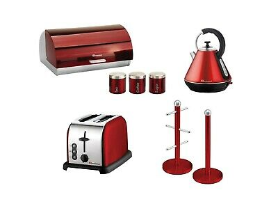 Matching Kitchen Set of Five items: Toaster, Blender, Spice Rack,Kettle, Bread b