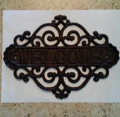 Welcome Sign for Door Cast Iron Rustic | Decorative Wall Plaque Vintage Design