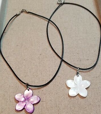 Hawaiian Jewelry *Purple* Plumeria Flower Shell Hand Carved Necklace Gift