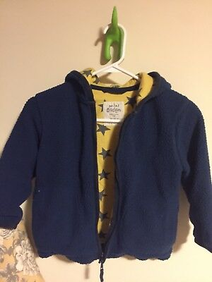 Mini Boden Blue Sherpa Fleece Jacket With Yellow Star Print Cotton Lining, 5-6