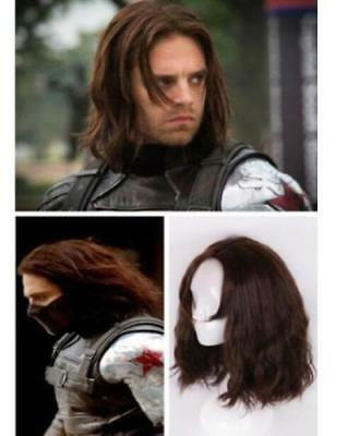 Cosplay Captain America Winter Soldier Barnes Bucky Men Brown Curly Full Wigs