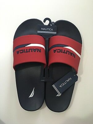 3580ec6df09b1 NAUTICA MEN'S STONO Sport Slide Sandals Logo Navy / Red Sizes 10-11-12