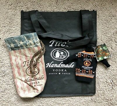 Tito's Handmade Vodka Swag ~ Ugly Sweater Coozie, Bottle Bag, Tote ~ BRAND NEW