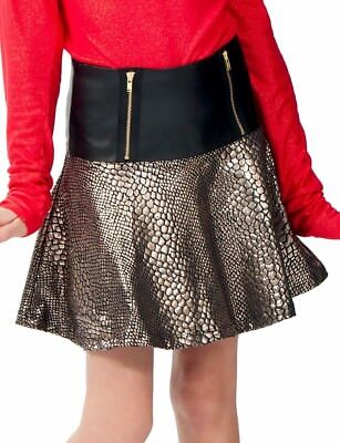 Ragdoll And Rockets Girls Black Faux Leather Gold Skin Skirt Lined Sz 8  NWT