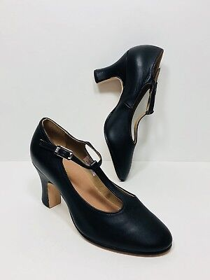 Bloch Leo New York T-Strap Shoes Womens 7 Black Leather Dance Character Theater