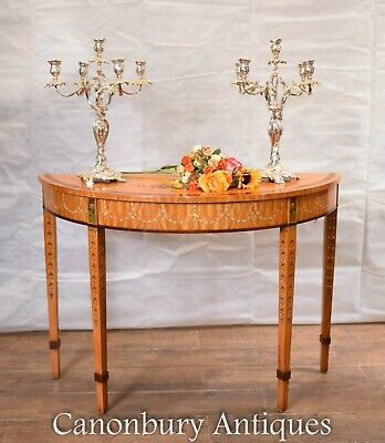 Regency Console Table - Painted Satinwood Demi Lune Hall Tables
