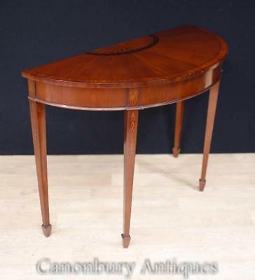 Regency Sheraton Console Table - Mahogany Demi Lune Hall Tables