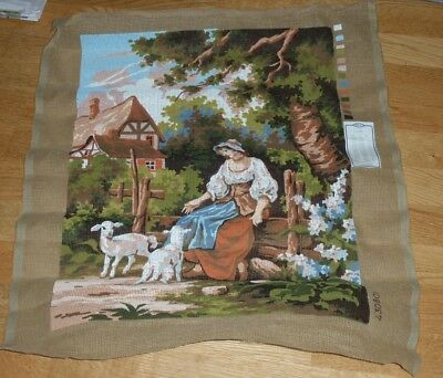 """SHEPHERDESS WITH LAMBS LARGE RBC PRINTED TAPESTRY CANVAS 23"""" x 18"""""""