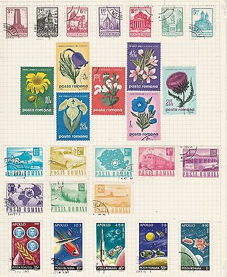 ROMANIA COLLECTION Flowers, Communications, Space etc on Old Book Pages #