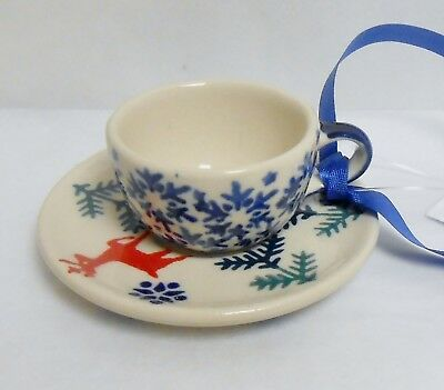 Boleslawiec Polish Pottery CUP & SAUCER Deer Pattern Christmas Ornament NWT