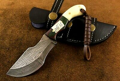 Handmade-Blacksmith Crafted Damascus Steel Mini Tracker Knife-Sheath-MT12