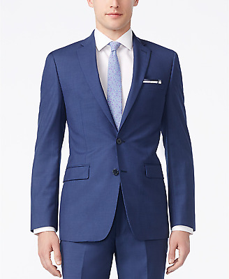 Calvin Klein X Slim Fit 2 PC Suit 40S / 34 x 30 Blue Flat Pant NEW