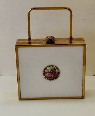 Vtg 50's Lucite Jeweled Box Purse With Rhinestone Accents