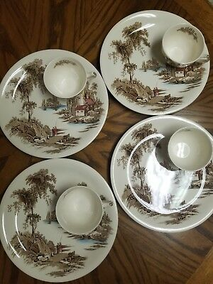 Vintage dishes old mill johnson brothers plates and teacups set of four
