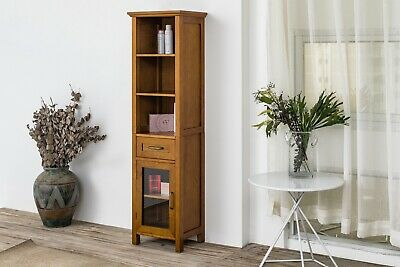 Avery Brown Country Linen Floor Cabinet w 1 Drawer & 3 Open Shelves for Storage