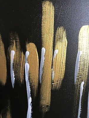 Intrigued • Masculine Black-Brown Gold Acrylic Painting
