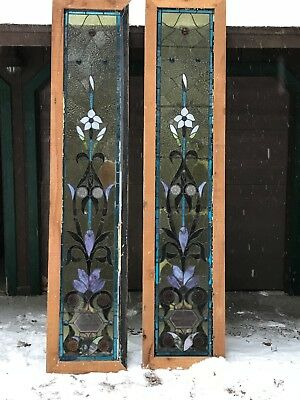 PAIR Of Antique Early 1900s Stained Glass Windows Blue / Clear Arts & Crafts 31""