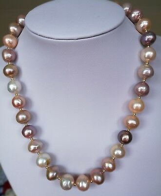 11-14mm Natural Freshwater Edison Kasumi Pearl Necklace Large Giant Pearl string