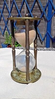 Vintage Heavy Brass Hour Glass Timer Ornate Brass Decoration Working Order