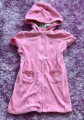 """Janie and Jack girls swimming pink """"tulip"""" hooded zip-up cover up size 4T"""