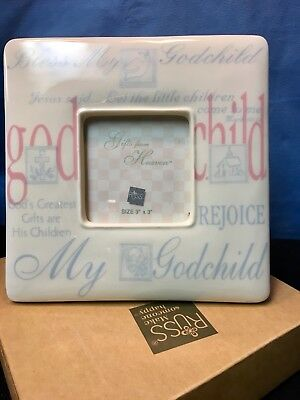 BEAUTIFUL Godchild PICTURE FRAME Ivory, Blue, Pink for Baby, Nursery, or Gift