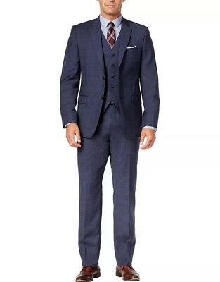 Ralph Lauren (B&T)Slim Blue Plaid 3pce (Suit 58 Regular, 58R, Pants 54W)