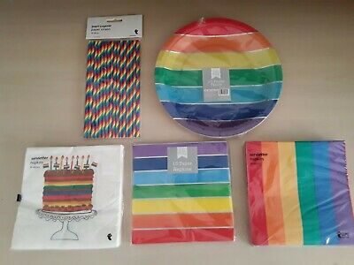 Rainbow Paper Plates Straws Napkins Serviette Bag Birthday Party Gay Pride LGBT